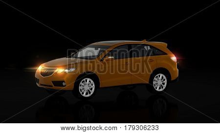 Generic Orange Suv Car On Black Background, Front View