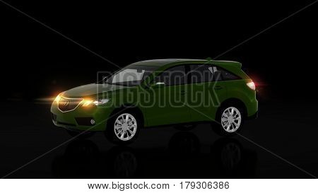 Generic Green Suv Car On Black Background, Front View