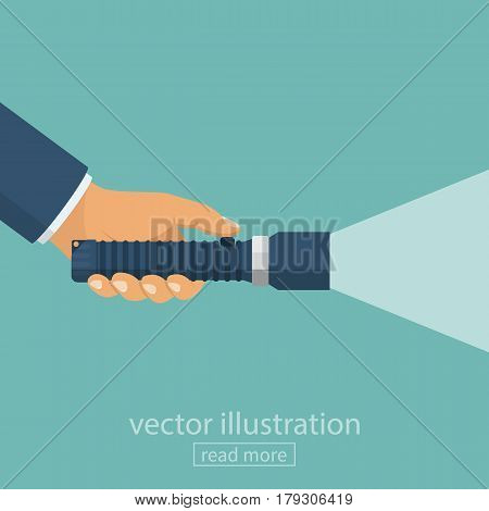 Hand holding flashlight. Web search concept. Vector illustration flat design. Isolated on background. Electric spotlight. Beam light. Press a finger on the button. Bright ray.