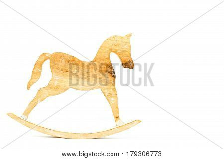 Stick Horse Sculpted Carved On Natural Wood Isolated On White Background