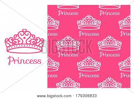 Princess Crown. Seamless repeating pattern. Diadem princess isolated on pink background. Vector illustration.