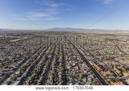 Aerial view of sprawling communities in Las Vegas, Nevada.