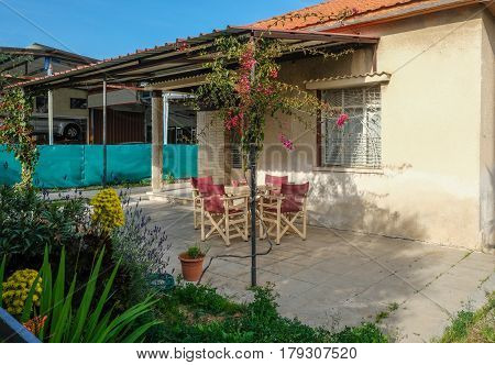Verandah of a small bungalow in Limassol, Cyprus, shot in springtime.