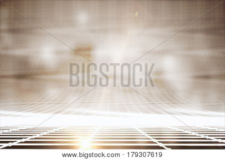 Abstract bright grid lines on blurry city background. Technology concept