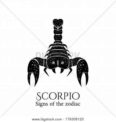 Signs of the zodiac. Scorpio hand draw. Black silhouette and white details. Vector illustration isolated on a white background.