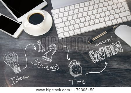 Top view of wooden office table with electronic devices coffee cup and creative lamp chess figure and clock sketch. Win concept
