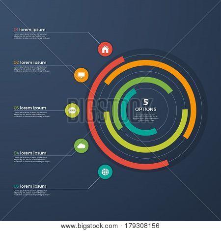 Presentation infographic circle chart 5 options. Vector illustration.