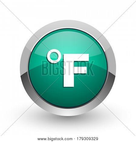 Fahrenheit silver metallic chrome web design green round internet icon with shadow on white background.