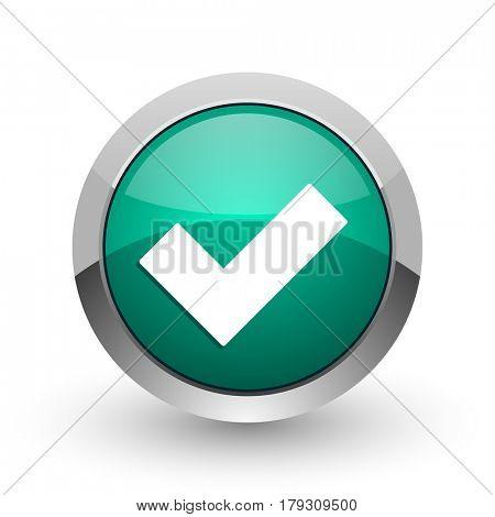 Accept silver metallic chrome web design green round internet icon with shadow on white background.