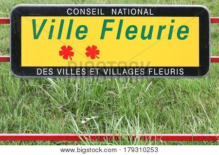 Centre-Val de Loire, France - March 19, 2017: Panel of towns and villages in bloom competition in France