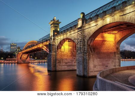 Pushkinsky (Andreevsky) bridge at night in Moscow, Russia