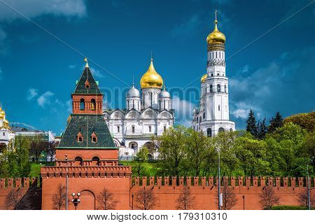 The Moscow Kremlin. The Cathedral of the Archangel and Bell Tower of Ivan the Great. Russia.