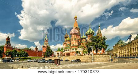 Panoramic view of St. Basil`s Cathedral with Kremlin, Moscow, Russia
