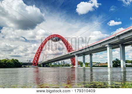 MOSCOW - AUGUST 8, 2013: Modern cable-stayed bridge in Moscow (Zhivopisny bridge).
