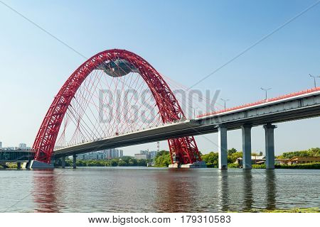 MOSCOW - AUGUST 11, 2013: A modern cable-stayed bridge (Zhivopisny bridge) in Moscow. It is the highest cable-stayed bridge in Europe.