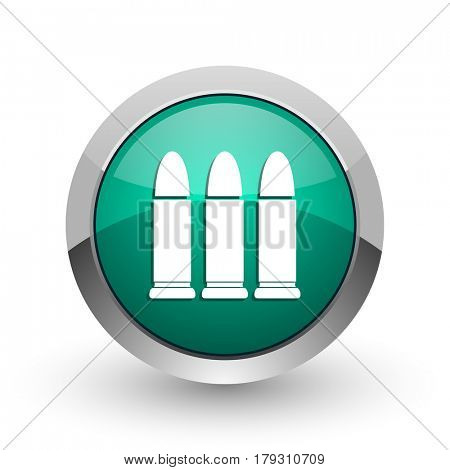 Ammunition silver metallic chrome web design green round internet icon with shadow on white background.