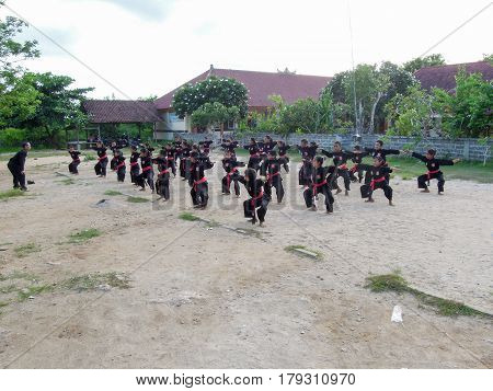 Nusa Lembongan Indonesia - 14 February 2013: Children practicing tai chi in their school at Nusa Lembongan Indonesia