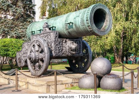 The ancient biggest cannon in Moscow Kremlin (Tsar Cannon), Russia