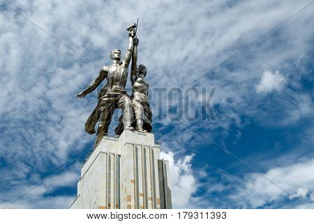 MOSCOW - JULY 22, 2012: Famous soviet monument Worker and Kolkhoz Woman (Worker and Collective Farmer) of sculptor Vera Mukhina. The monument is made of stainless steel for the 1937 World's Fair in Paris and subsequently mo