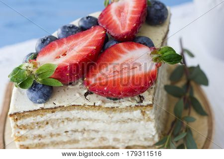 Dietary cake with berries. Piece of cake. Delicious healthy dessert. The minimum of calories