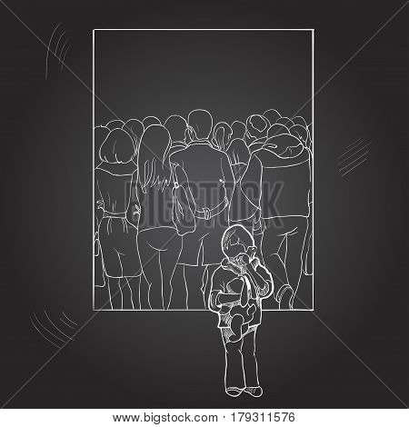 A lonely boy among a crowd of people. Drawing by hand on a chalkboard