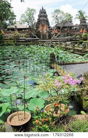 Lotus Pond And Pura Saraswati Temple In Ubud, Bali