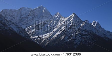 Khusum Khangaru and other high mountains in the Everest National Park. View from Namche Bazar.