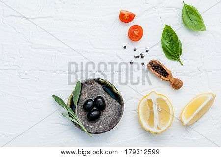 Food Background With Fresh Herbs Tomato ,lemon Slice , Black Pepper ,sage Leaves ,sweet Basil And Ol