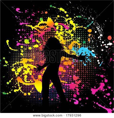 Silhouette of a female on a brightly coloured grunge background