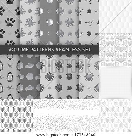 Grey seamless blobs drops pattern background set vector illustration