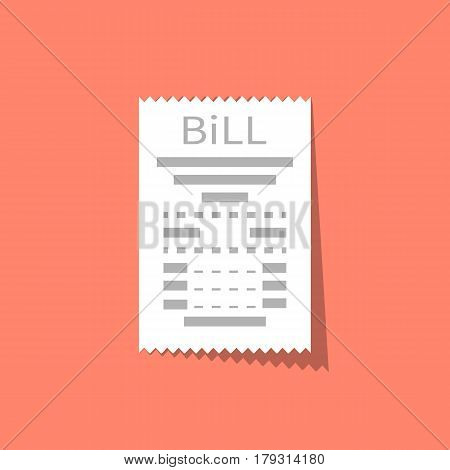 Bill icon isolated flat design style. Receipt, invoice. Torn white paper check with a shadow. Vector illustration flat design. Report finance, expenses.