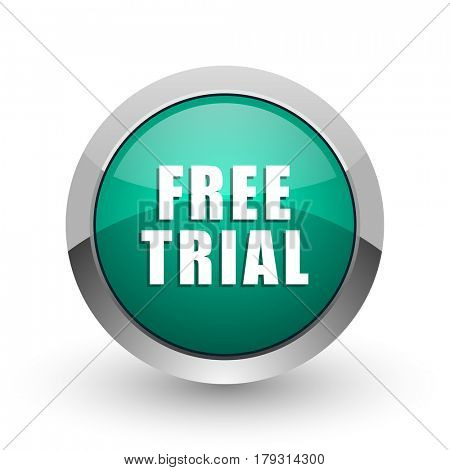 Free trial silver metallic chrome web design green round internet icon with shadow on white background.