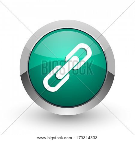 Link silver metallic chrome web design green round internet icon with shadow on white background.