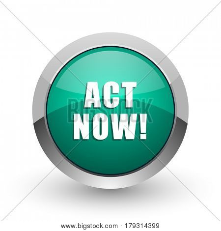 Act now silver metallic chrome web design green round internet icon with shadow on white background.