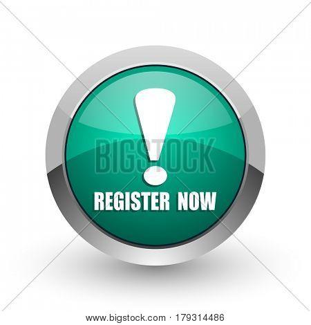 Register now silver metallic chrome web design green round internet icon with shadow on white background.