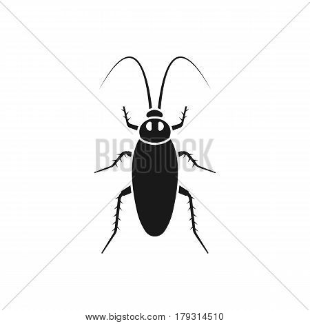 Cockroach black icon, isolated on white background. Kitchen bug silhouette. Insect dirty pictogram. Unhygienic concept. Vector illustration flat design.