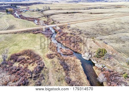 aerial view of North Fork of Cache la Poudre RIver in northern Colorado foothills , early spring scenery