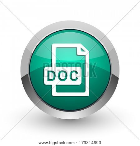 Doc file silver metallic chrome web design green round internet icon with shadow on white background.