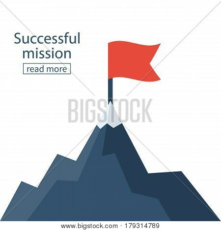 Red flag on mountain peak. Successfull mission icon business concept. Vector illustration flat. Isolated on background. Goal achievement. Symbol of victory, winning.