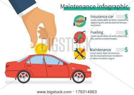 Maintenance infographic. Man holding a coin in hand puts it on the car. Icons of fueling, insurance and repair. Vector illustration flat style. Isolated on white background. Template design. Cost car.