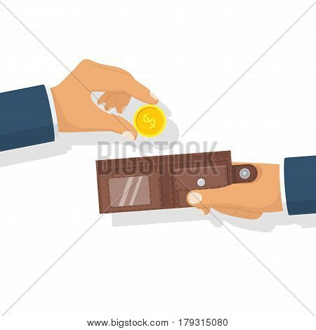 Money in hand. Putting gold coin in leather wallet. Vector illustration flat icon design style. Isolated on white background. Give, take the cash money. Finance concept.