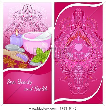 Vector illustration of a vertical banner template with spa accessories with a mortar and aromatic salt. Design for a spa, massage and beauty salon, relax, aromatherapy, organic health care products