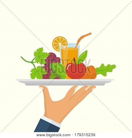 Healthy food concept. Man holds a tray of fresh vegetables, fruit and juice, symbol of a healthy diet. Veggie food, eat vitamins. Vector illustration flat design. Isolated on white background.