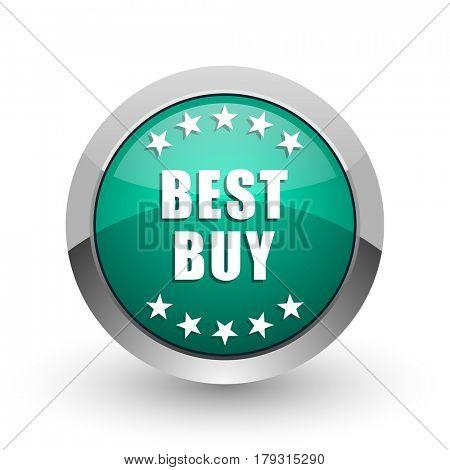 Best buy silver metallic chrome web design green round internet icon with shadow on white background.