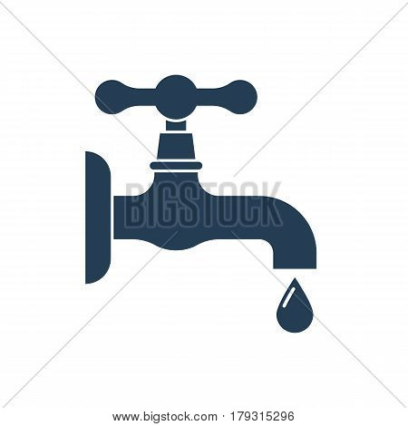 Water tap with falling drop. Black icon isolated on white background. Vector illustration flat design. Classical old valve.