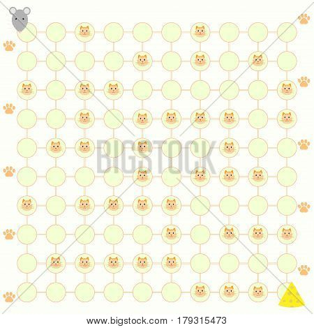 Baby puzzle game help the mouse get to cheese vector illustration