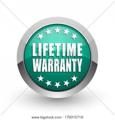 Lifetime warranty silver metallic chrome web design green round internet icon with shadow on white background.