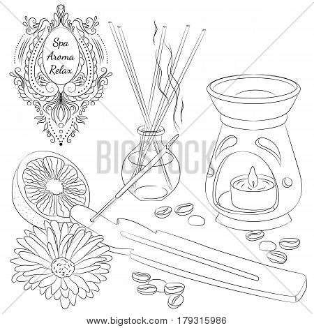 Vector illustration with accessories for aromatherapy and spa. Line art isolated on white background. Design for a spa, massage and beauty salon, relax, aromatherapy.