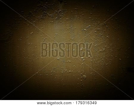 Brown dark painted colored texture with scratches slots and stains rust staining. The cracks grunge urban metal background. Bright center vignetting at the edges of the surface.