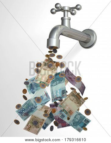 Cash tap 3D brazilian currency cash real coins falling